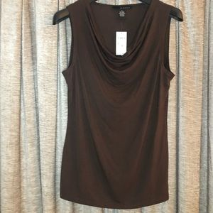 NWT Grace Brown Draped Front Sleeveless Top